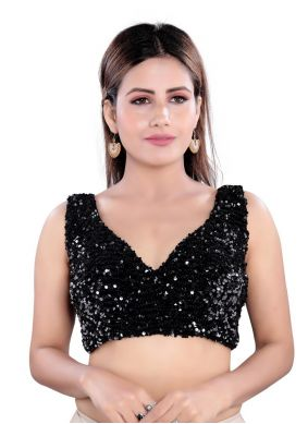 Velvet Embroidered Designer Blouse in Black