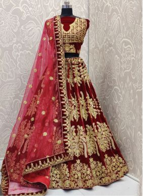 Velvet Embroidered Designer Lehenga Choli in Maroon