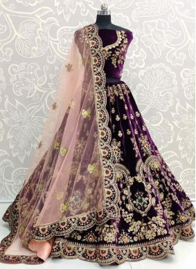Velvet Embroidered Designer Lehenga Choli in Purple