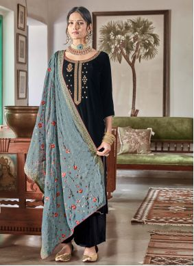Velvet Embroidered Designer Palazzo Suit in Blue