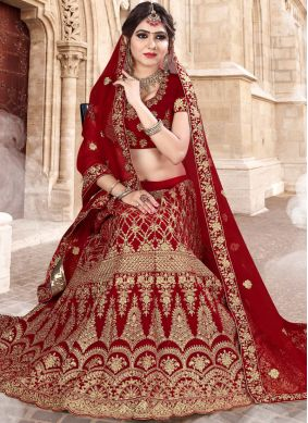 Velvet Patch Border Red Lehenga Choli