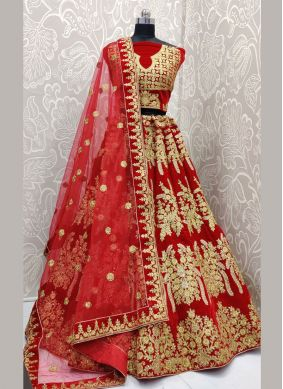 Velvet Red Embroidered Lehenga Choli