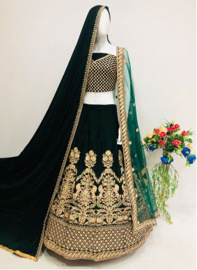 Velvet Thread Lehenga Choli in Green
