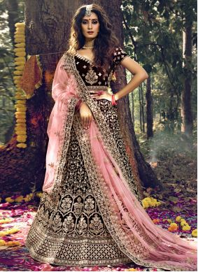 Velvet Trendy Lehenga Choli in Maroon