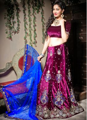 Velvet Wine Border Trendy Lehenga Choli