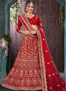 Velvet Zari Red Trendy Lehenga Choli