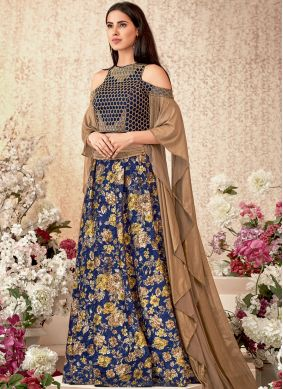 Versatile Embroidered Jacquard Blue Trendy Lehenga Choli