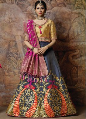 Versatile Navy Blue Wedding Designer Lehenga Choli