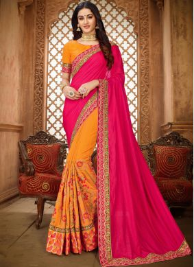 Vibrant Art Silk Patch Border Saree