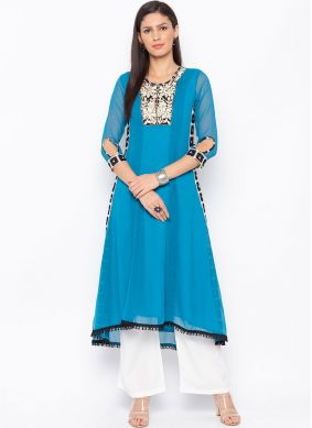 Vibrant Embroidered Festival Party Wear Kurti