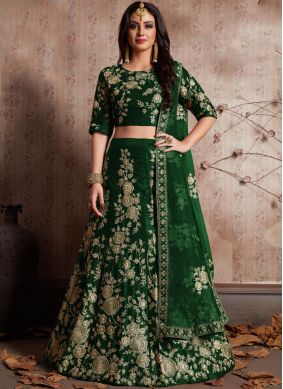 Vibrant Green Embroidered Work Lehenga Choli