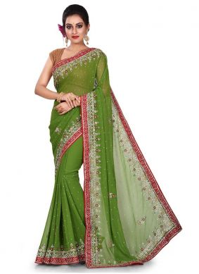 Vibrant Green Georgette Designer Traditional Saree