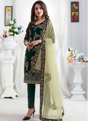 Vibrant Resham Green Pant Style Suit