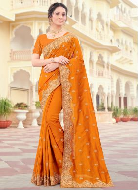 Vichitra Silk Mustard Designer Traditional Saree