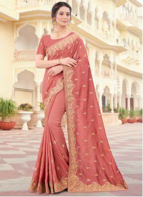Vichitra Silk Peach Designer Traditional Saree