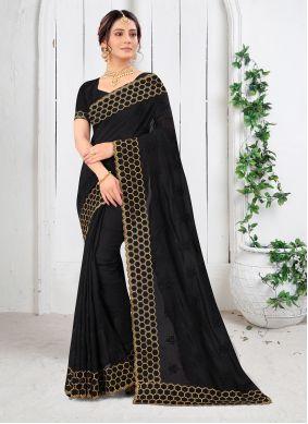 Black Vichitra Silk Resham Saree