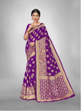 Violet Art Silk Reception Art Silk Saree