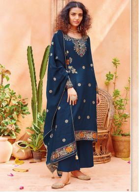 Viscose Embroidered Blue Pant Style Suit