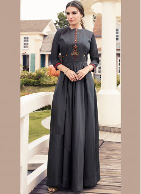 Viscose Embroidered Party Wear Kurti in Grey