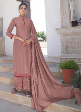 Viscose Embroidered Mauve Readymade Suit