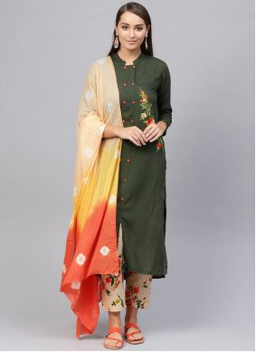 Viscose Green Readymade Suit