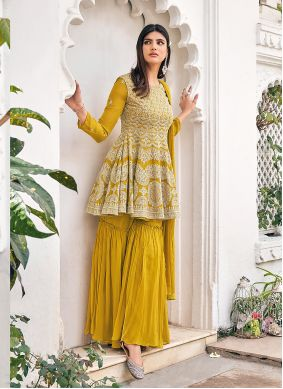 Viscose Mustard Embroidered Readymade Suit