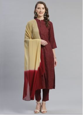 Maroon Viscose Party Pant Style Suit