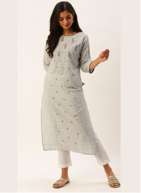 Viscose Grey Party Wear Kurti