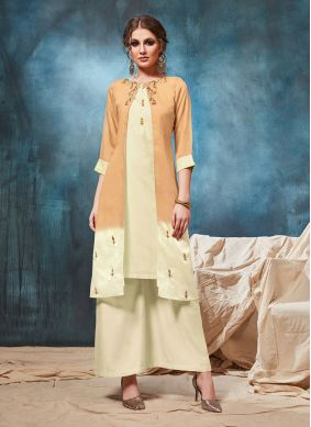Viscose Party Wear Kurti in Cream