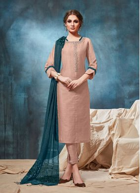 Viscose Party Wear Kurti in Peach