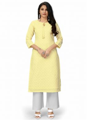 Viscose Plain Designer Kurti in Yellow