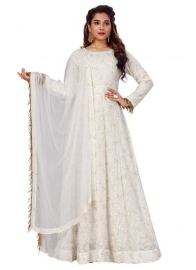 Viscose White Lucknowi work Gown