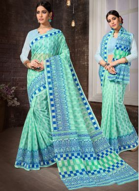 Vivacious Printed Cotton Aqua Blue Casual Saree