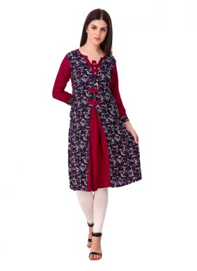Vivacious Printed Raw Silk Casual Kurti