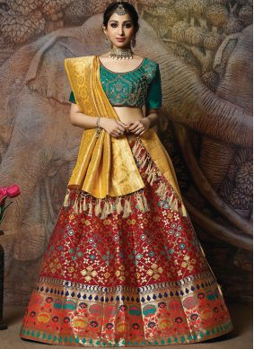 Vivacious Red Wedding Designer Lehenga Choli