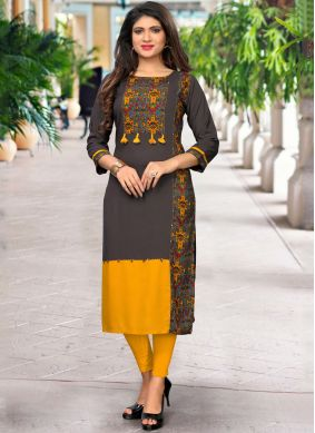 Vivid Handwork Multi Colour Rayon Casual Kurti