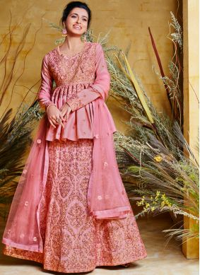 Vivid Pink Embroidered Poly Silk Floor Length Anarkali Suit