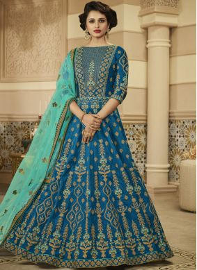 Voguish Art Silk Blue Lace Floor Length Anarkali Suit