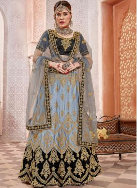 Voguish Grey Embroidered Satin Silk Lehenga Choli