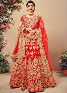 Voluptuous Red Embroidered Designer Lehenga Choli