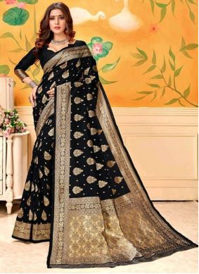 Weaving Art Silk Black Trendy Saree