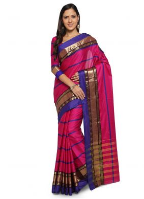 Weaving Art Silk Cotton Traditional Saree in Pink