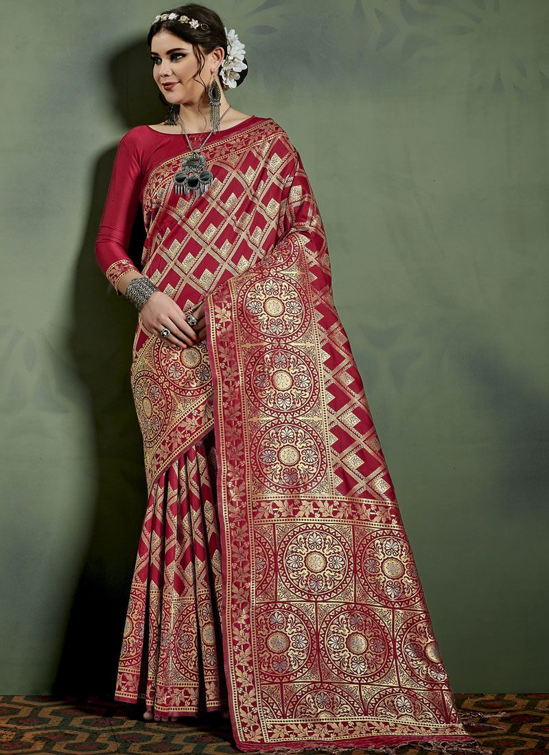 Weaving Art Silk Designer Traditional Saree in Maroon
