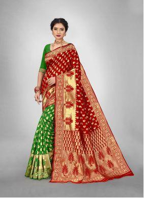 Green Weaving Art Silk Half N Half  Saree