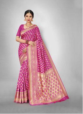Weaving Art Silk Trendy Saree in Pink