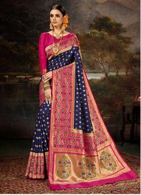 Weaving Banarasi Silk Blue Saree