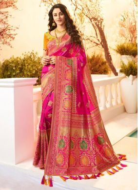 Weaving Banarasi Silk Classic Designer Saree in Hot Pink