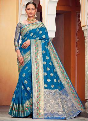 Weaving Banarasi Silk Classic Saree in Blue