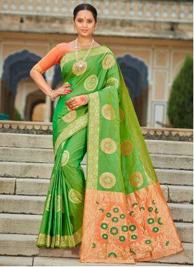 Weaving Banarasi Silk Contemporary Saree in Green