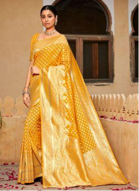 Weaving Banarasi Silk Contemporary Saree in Yellow